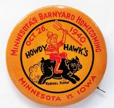 "1940 MINNESOTA HOMECOMING vs Iowa football 2.25"" pinback button ^"
