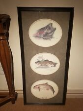 "KENNETH RASMUSSEN FISH-LURE VERY RARE HAND SIGNED 16X34"" FRAMED LITHOGRAPH 👍"