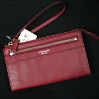 NWT COACH Legacy Leather Black Cherry Red Clutch Zippy Wallet Large Wristlet NEW