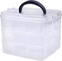 Kurtzy 3 Tier Storage Box - 18 Sections Adjustable Compartments Plastic Craft &