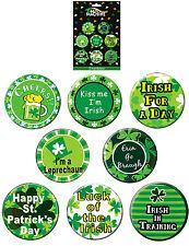 SET 8 x ST PATRICKS DAY PIN BUTTON MIXED METAL BADGES IRISH IRELAND PARTY 00113