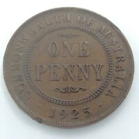 1925 Key Date Commonwealth Australia One 1 Penny George V Circulated Coin K922