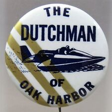 1967 THE DUTCHMAN diagonal stripes 9 to 6 Hydroplane pinback button STRAIGHT PIN