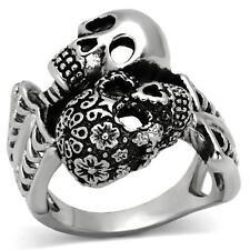 Men's Stainless steel Skull Skeleton Flower 2 two Biker Punk Goth Gothic Ring