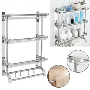 3 Tier Wall Mounted Stainless Steel Chrome Bathroom Towel Rail Holder Rack Shelf