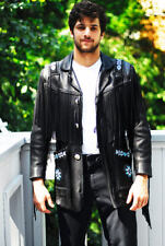 New Mens Western Style Scully Black Cowboy Leather Jacket Fringes Beads Patches