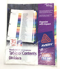 Avery R121331 Ready Index Table Of Contents Dividers 31 Tabs