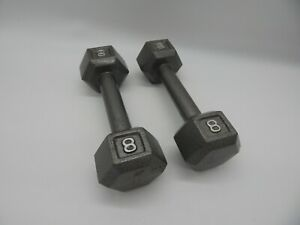 Pair of 8 lb Hex Cast Iron Dumbbell  Good Shape Weightlifting 16 Lbs Total