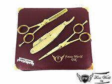Gold - FW Professional Barber Hairdressing Scissors + Barber Shaving Razor Gold