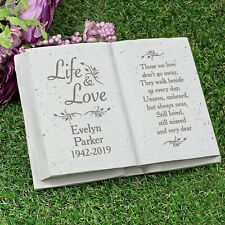 Personalised Life & Love Memorial Book Garden Grave Marker Funeral Ornaments