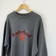 Vintage TIMBERLAND Big Spell Out Embroidered Logo Hoodie Sweatshirt Grey | A15
