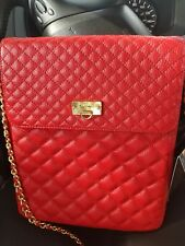BODHI  Red  Leather Quilted Chain  Cross-Body tablet bag