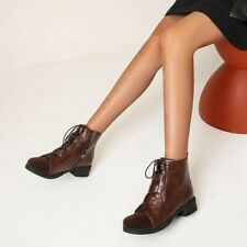 Women Retro Ankle Boots Block Low Heels Round Toe Lace Up Booties Side Zip Shoes