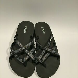 Women's TEVA Flip Flop Sandals Black/Blue Strappy Size 7