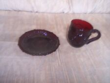VINTAGE---AVON---CAPE COD---Ruby Red Glass---CUP & SAUCER SET---In Original Box