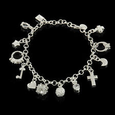 Charm Women 925 Silver Plated Fashion Jewelry Multi Pendant Bracelet Gift