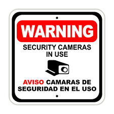 Warning Security Cameras in Use Aviso Camaras de Seguridad En El Uso 12x12 Sign