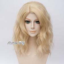 40CM Medium Blonde Lolita Basic Curly Women Heat Resistant  Cosplay Wig+Cap