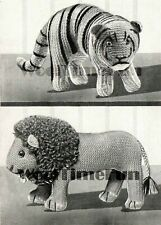 Knitting Pattern Vintage 1940s WW2 Toy Lion & Tiger. Use Wool Oddments.
