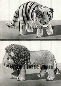 Knitting Pattern Vintage 1940s WW2 Toy Lion & Tiger. Use Wool Oddments.
