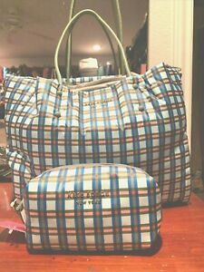 KATE SPADE TOTE DIAPER BAG PLUS MATCHING MAKEUP BAG INCLUDED GORGEOUS PLAID NWT