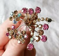 Vintage Jewellery Pink Aurora Borealis Crystal Flower Pin 50s 60s Spray Brooch
