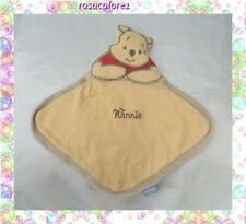 Doudou Plat Losange Mouchoir Winnie L'ourson Jaune Disney