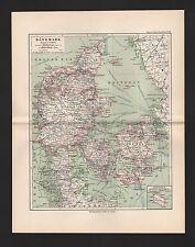 Landkarte map 1892: DÄNEMARK. Bornholm. ISLAND. Skandinavien