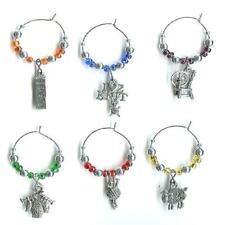 6 Wine Glass Charms - Knitting Theme Set