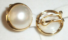 White Pearl Clip On Pierced Earring 4.8g 14K Yellow Gold Hawaiian Hawaii Jewelry