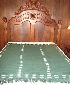Handmade Handcrafted Crochet Afghan Throw Blanket   Green Complex Design Afghan