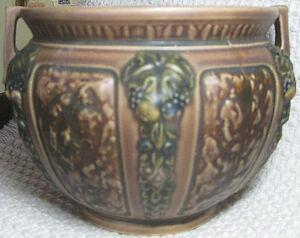 """Antique 1924 ROSEVILLE 6"""" Florentine Jardiniere with Handles 602-6"""" Brown Green"""