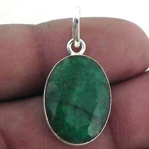 Solid 925 Sterling Silver Emerald Gemstone Handmade Pendant Women Gift PSV-1596