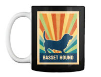 Retro Vintage Basset Hound Silhouette Gift Coffee Mug