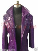 NEW Suicide Squad Joker Costume Halloween Cosplay Jacket Purple Men Trench Coat