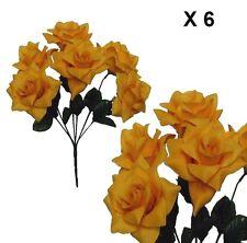 "(Pack of 6 ) Microfiber Yellow Rose 14"" Bush Silk Flower Home Wedding Decor"