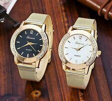 Nueva Moda Reloj Geneva de cuarzo para mujer de brazalete malla color oro.