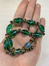 "Rare Vintage Miriam Haskell Green Blue Art Glass Bead Chocker Necklace 15"""