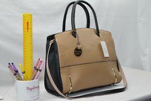 GENUINE LEATHER - NEW Jane Shilton Designer Shoulderbag Handbag - BLACK + CAMEL