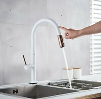 Rose Gold and White  360 Degree Kitchen Faucet Touch-On Pull Out Sink Mixer Tap