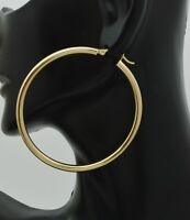 14k Solid Yellow Gold big Large High Polished hoop Earrings. 50mm x 3MM 3.3gr