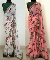 Floral Saree Sari Indian Printed Designer Wear Print Party Wedding Pakistani New