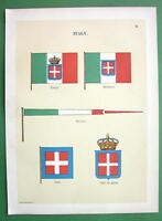 ITALY Naval Flags Jack Coast of Arms Pennant - 1899 Color Litho Print