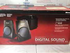 New listing Microsoft Digital Sound System 80 vintage 1998 2 Sat Speakers Subwoofer Working