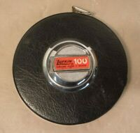 Vintage Lufkin 100' Chrome Clad Steel Tape Measure HC256 100 Foot Made in USA