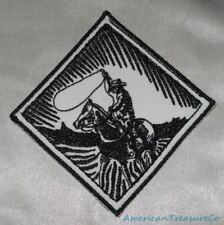 Embroidered Retro Black & White Western Cowboy w/Horse & Lasso Patch Iron On USA