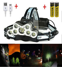 200000LM 9-LED USB Rechargeable 18650 Headlamp Head Torch Bright Light+Battery