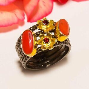 Italian Coral & Garnet Gold Plated Handmade Handmade Jewelry Ring s.6 T8618