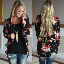 UK Ladies Outwear Boho Long Sleeve Wrap Cardigans Casual Loose Blouse Coat Top