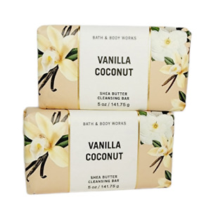 2 Bath & Body Works VANILLA COCONUT Shea Butter Cleansing Solid Body Bar 5oz NEW